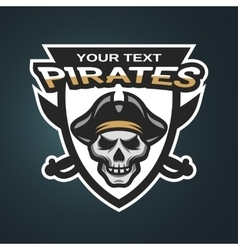 Skull pirates and swords vector image vector image