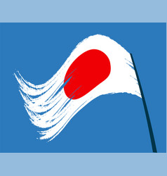 The flag of japan waving in the wind isolated on vector