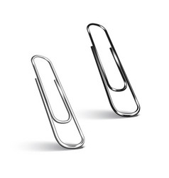 Two paper clips on white background vector