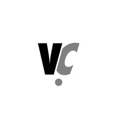 Vc v c black white grey alphabet letter logo icon vector