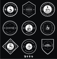 Vintage white coffee badges vector