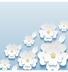 Wallpaper with 3d flowers sakura and leaf vector image vector image