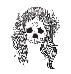 Human skull with flower wreath and quartz crystal vector image