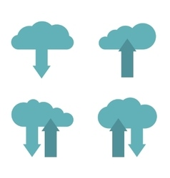 Flat cloud service icons on white background vector image