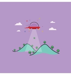Mountain and ufo outline art vector