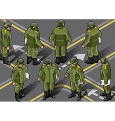 isometric set of military man in eight position vector image