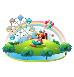 An island with a female clown and an amusement vector image