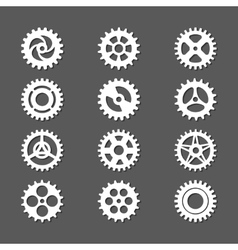 White gears icon set with shadows vector