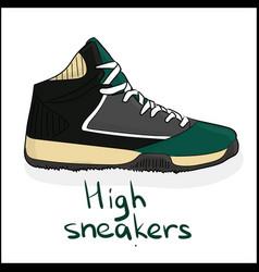 High sneakers vector