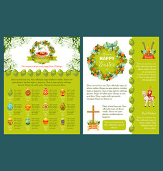 Easter greetings template for banner card design vector