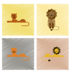 assembly flat shading style icons cartoon tiger vector image