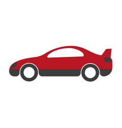 Red and black passenger car with spoiler close up vector