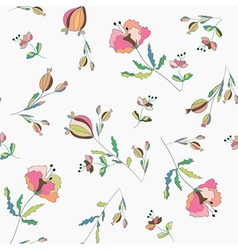 Poppies floral seamless pattern vector image