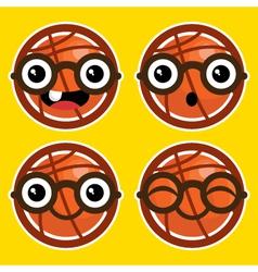 Cartoon Basketballs with Eyeglasses vector image
