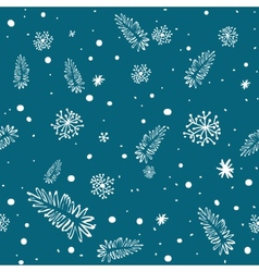 Seamless doodle with snowflakes and branches vector