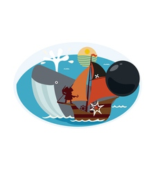 Design with whale and pirate ship vector