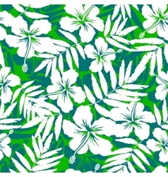 Green and white tropical flowers silhouettes vector