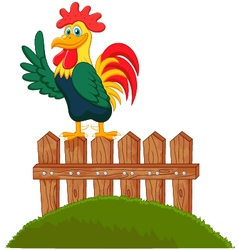 Cute rooster crowing on the fence vector image