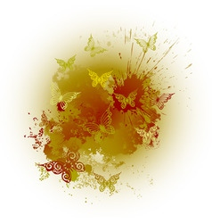 grunge brown background with blots and butterflies vector image