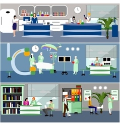 Banners with doctors and hospital interiors vector
