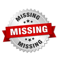 Missing 3d silver badge with red ribbon vector