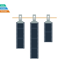 Flat design icon of photo film drying on rope with vector