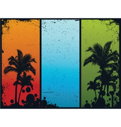 Vintage summer banners with palm trees vector