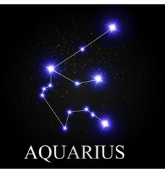 Aquarius zodiac sign with beautiful bright stars vector