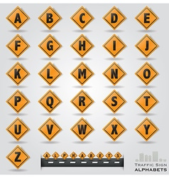 Traffic sign alphabets font style vector