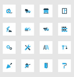 Building colorful icons set collection of gear vector