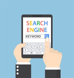 Businessman searching for keyword on search engine vector
