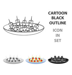 Canape on the plate icon in cartoon style isolated vector