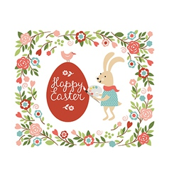 Cartoon easter rabbit paint the egg vector image vector image
