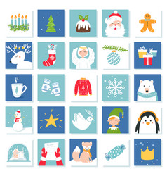 Christmas and new year celebration symbols advent vector