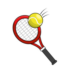 Color racket and tennis ball icon vector