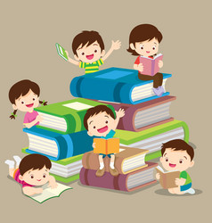 cute boy and girl reading book vector image vector image