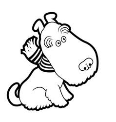 Cute cartoon terrier wearing a scarf vector