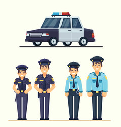 cute happy police man and woman agents working in vector image