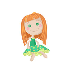 cute soft redhead doll in a green dress sewing vector image vector image