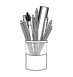 figure coloured pencils in jar icon vector image vector image