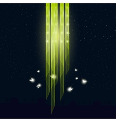 Glowworms flying around the lamp vector