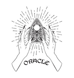 Hand drawn ornate ouija planchette in female hands vector