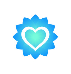 heart outline with flower shape logo element vector image vector image