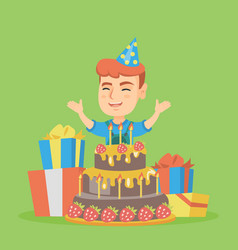 Little caucasian boy jumping out of a large cake vector