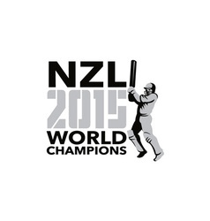 New zealand nz cricket 2015 world champions vector