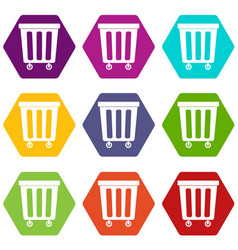 outdoor plastic trash can icon set color vector image