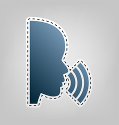 People speaking or singing sign blue icon vector
