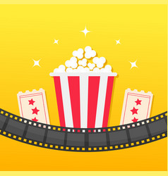 popcorn box film strip rounded two tickets admit vector image vector image