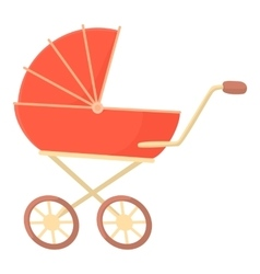 Red baby stroller icon cartoon style vector