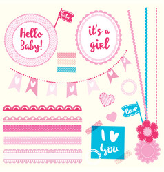 Set elements hello baby girl vector
